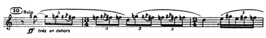 "Excerpt from the first clarinet part from ""The Rite of Spring,"" Part 1, first section"