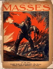The cover art by John French Sloan from the June 1914 issue of  The Masses, depicting the massacre.