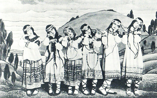 "Dancers from the original 1913 production of ""Rite of Spring"""