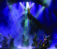 "Smoke and fog effects at ""Wicked"" prompted musicians, actors and stagehands to protest in 2007. Above, Stephanie J. Block levitates as the witch Elphaba."