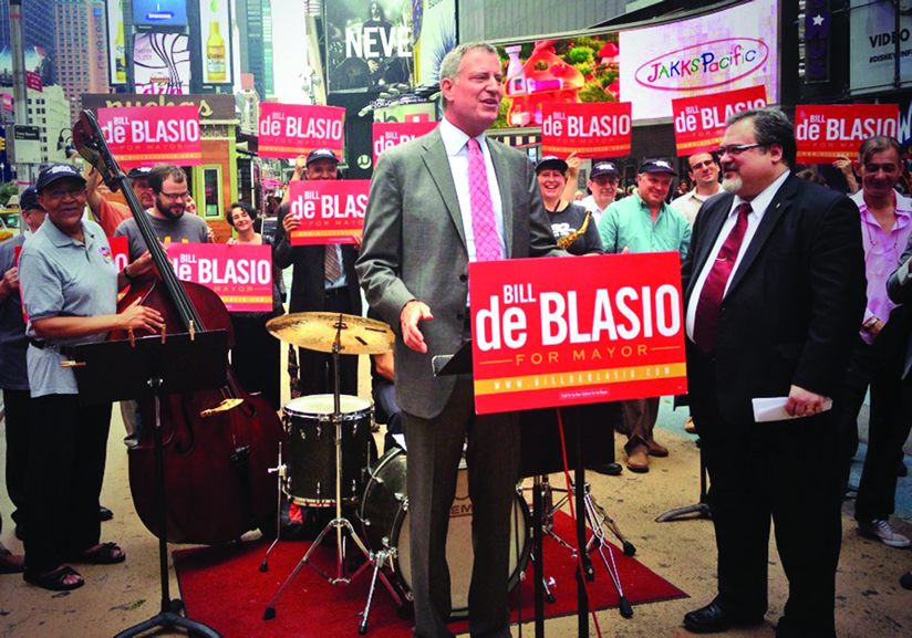 Bill de Blasio accepted Local 802's endorsement on Aug. 12 at a spirited press conference in Times Square that featured live music performed by Local 802 members. Photo: New Yorkers for de Blasio