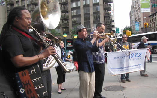 True organizing results in power. Above, musicians and union staff take to the street as part of Local 802's Justice for Jazz Artists campaign. AFM locals all around the country must invest more time, energy and resources to organize and empower musicians. Photo: Shane Gasteyer