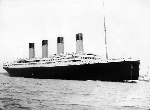 The Titanic, departing Southhampton, England on April 10, 1912. Photo: Wikimedia Commons/Wikipedia