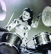 Viola Smith in her working days as a top-tier drummer.