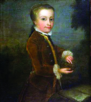 """Anonymous, """"Boy with the Bird's Nest,"""" oil on canvas, allegedly 1764, 80 x 60 cm Salzburg, International Mozarteum Foundation, Mozart Museums and Archives."""