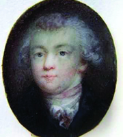 """Mozart snuff box, inscribed """"Joh. Mozart 1783,"""" miniature painting on ivory, in a brass frame beneath glass, inset in a snuff box made of tortoiseshell, 1783?, oval: 3 x 2.5 cm, Salzburg, International Mozarteum Foundation, Mozart Museums and Archives."""