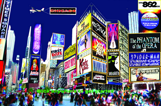 The home page of the new site BroadwayMusicians.com features a montage of Times Square by graphic artist and Equity member Michael Dantuono. Broadway musicians who want their show represented on the site should send an e-mail to tcnotice@icloud.com.