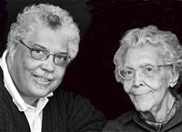 """Rufus Reid and the artist Elizabeth Catlett, whose sculptures inspired Reid to write a jazz suite entitled """"Quiet Pride."""" Below, a Catlett sculpture called """"Glory"""" (1981)."""