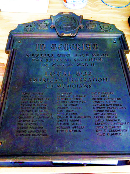 Local 802's plaque honoring members who died in World War II.