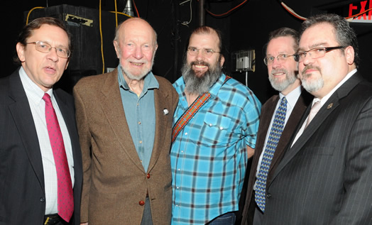 Pete Seeger with the Local 802 officers and singer/songwriter Steve Earle at Local 802's 90th birthday party and gala in 2011. Photo: Walter Karling.