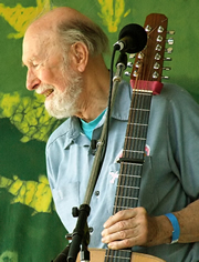 Pete Seeger at the Clearwater Festival in 2007, at the lively age of 88. Photo: Anthony Pepitone via Wikipedia