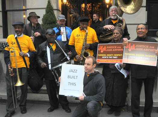 TAKING IT HOME: Above, musicians and union activists rally and perform last year in front of the multi-million dollar townhouse owned by one of the Blue Note partners. At right, a letter sent to Jazz Standard owner Danny Meyer, signed by seven prominent jazz musicians.