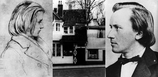 From left, Brahms at 19; Brahms childhood home at 29 Dammtorwall in Hamburg; Brahms at 33. Photos courtesy of the author.