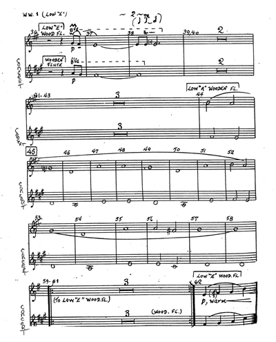 """Above, a page of notation showing a double staff wood flute part with non-standard transpositions. The part has concert pitch on the bottom, and the transposed part on top, first for """"E"""" flute (a major-second higher than a C concert flute), and then (at measure 44) for """"low A wooden flute,"""" which is the same range as a Western alto flute. The concert key is F# minor, but both wooden flute parts are written with one sharp in the key. The performer will be able to interpret that key signature and use fingerings that are specific to each flute to produce the correct pitches. This is the preferred notation method."""