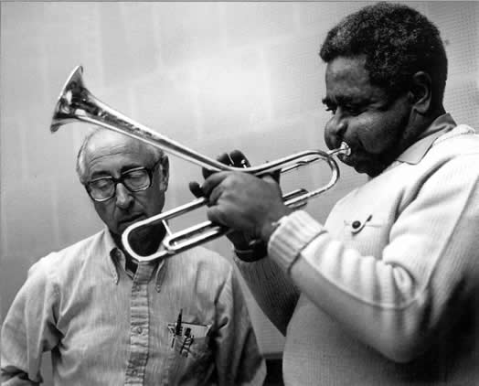 Abe Osser with Dizzy Gillespie at a rehearsal for a concert at Carnegie Hall.