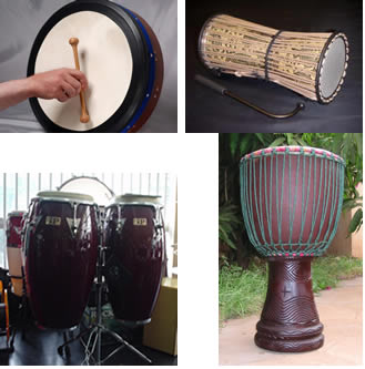"""Clockwise from top left, four """"ethnic"""" drums: bodhran, talking drum, djembe, congas"""