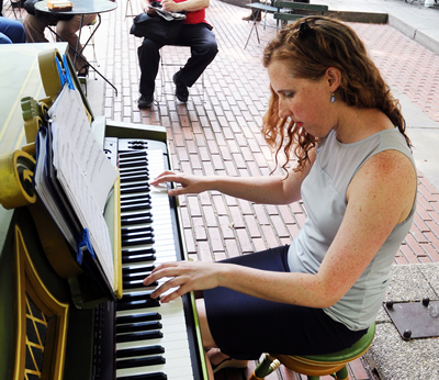 SUMMER SWINGIN': Local 802 member Deanna Witkowski performs at Bryant Park. Photo: Steve Singer
