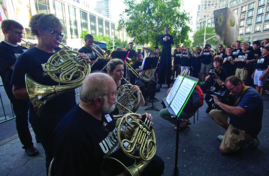 Met Opera musicians perform at a rally in front of Lincoln Center in early August. Photo: Kate Glicksberg.