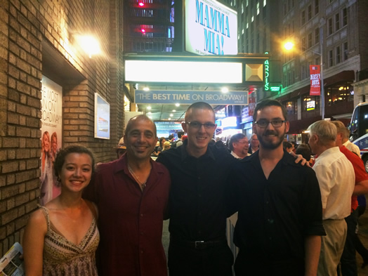 STUDENTS GET TO KNOW THE PROS: From left, Carime Santa Coloma, Ray Marchica, Murphy Aucamp and Ryan Folger took part in NYU's annual Broadway Percussion Summit.