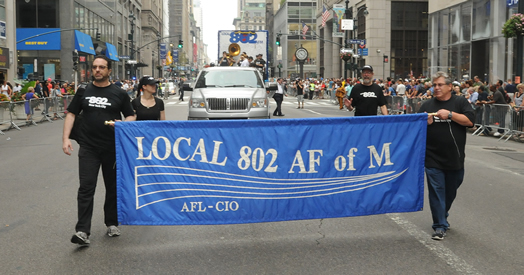 Local 802 officers, staff and supporters marched in the annual labor parade sponsored by the Central Labor Council.