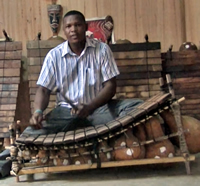 Gyil maker, virtuoso and composer Ba-ere Yotere with a gyil