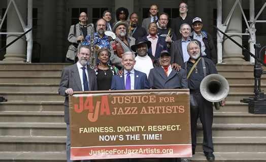 Musicians, council members and Local 802 staff and officers celebrated the City Council vote supporting the Justice for Jazz Artists campaign. Photo: Kate Glicksberg
