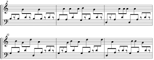 "An example of notation for the gyil. Notice how the stems of eighth notes from the ""treble"" (right hand) clef and the ""bass"" (left hand) clef share a beam. This is done so the performer can easily understand the rhythmic relation between one hand and the other. Excerpt from ""Lo Ben Doma"" by Kakraba Lobi."