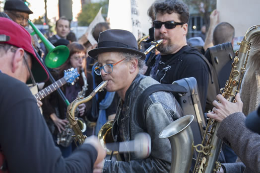 Local 802 member Kenny Wollesen and his band marched to Google's headquarters on Eighth Ave. Photo: Casey Dorobek