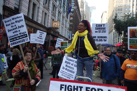 Fast food workers demand fair wages in a rally lasst year near Herald Square. Photo: The All-Nite Images via Flickr