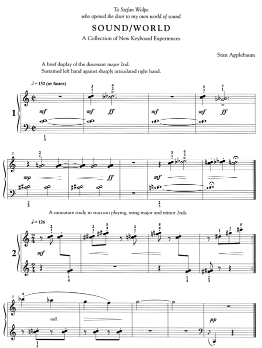 """An excerpt from Stan Applebaum's """"Sound/World,"""" an intricate etude book, which won a prize in 1978 as the outstanding contribution to piano literature for intermediate students."""