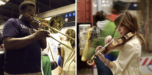 Under MTA rules, musicians may generally perform on subway platforms and accept donations. See for details.