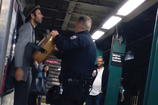 Andrew Kalleen was arrested for performing legally on a subway platform.