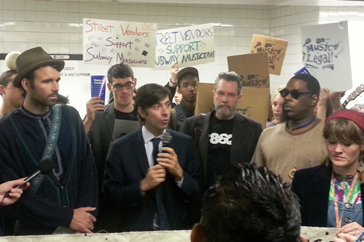 Kelleen later appeared with NYC Councilmember Stephen Levin and Local 802 Recording Vice President John O'Connor at a rally with other supporters. The law says that musicians may generally perform on NYC subway platforms and even solicit donations. photo: Shane Gasteyer