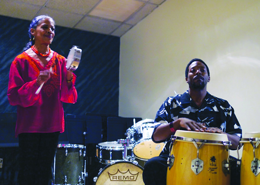 LIVE FROM LOCAL 802! Musicians who performed at the union's annual holiday party this year included Vivian Warfield and Oreste Abrante. Photo: Jon Hammond