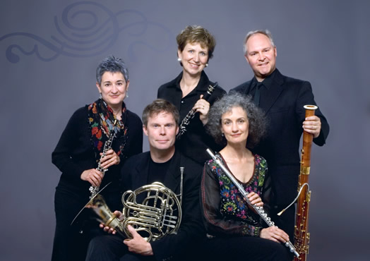 Katherine Fink with the Borealis Wind Quintet. Photo: Brad Martin