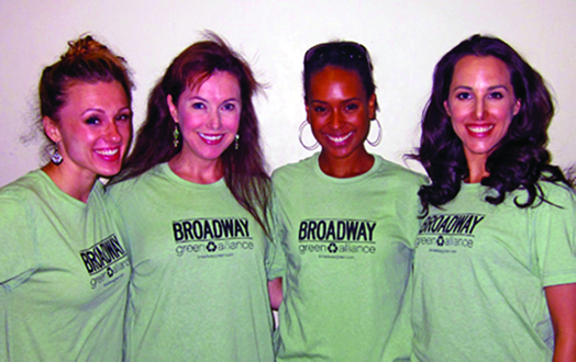 The Broadway Green Alliance educates, motivates and inspires the theatre community to keep it green. Every Broadway show and every  major Broadway union has its own Green Captain, who helps make the theatre world more sustainable. AJ Fisher, Kimlee Bryant, Rhea Patterson and Jessica Lea Patty have all served as Green Captains.