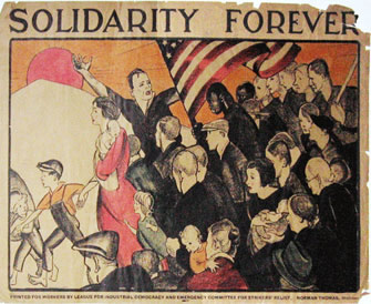 Poster for the League for Industrial Democracy, designed by Anita Willcox during the Great Depression, showing solidarity with struggles of workers and poor in America. Photo of poster: Judy Seidman via Wikipedia.