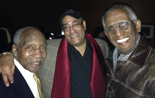 Jimmy Owens (center) with friends Joe Wilder and Wilmer Wise.