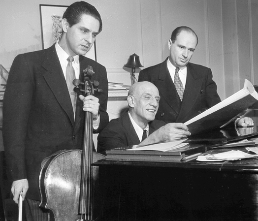 From left: Leonard Rose; New York Philharmonic conductor Dimitri Mitropoulos; and Alan Shulman, in 1950.