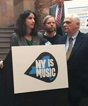 Local 802 political director Maya Kremen and Rep. Joe Lentol spoke in favor of a tax credit program for music production at a press conference in Albany.