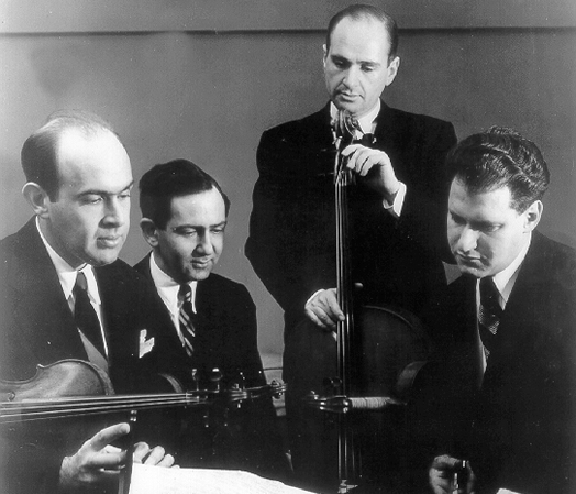 Alan Shulman and his brother Sylvan formed the Stuyvesant Quartet in 1938. Above, the two Shulman brothers with Bernard Robbins and Ralph Hersh, in 1947.