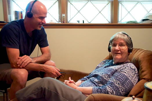 The author and his late mother, an Alzheimer's sufferer, enjoying music together.