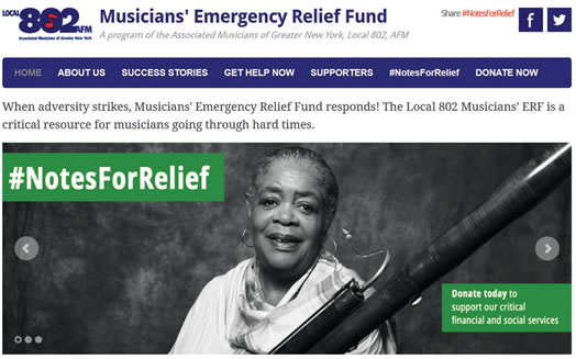 "MUSICIANS HELP EACH OTHER: Local 802's social media campaign ""Notes For Relief"" kicked off in September. The idea was to raise awareness and accept donations for the Musicians' Emergency Relief Fund. Donations are still being accepted; please click image to visit www.local802erf.org to help out."