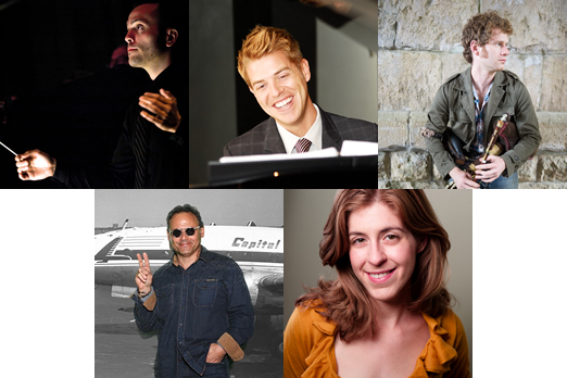 Top row, from left: Brett Rowe, Charlie Reuter, Isaac Alderson. Bottom row: Alan Schissel, Elisa Winter