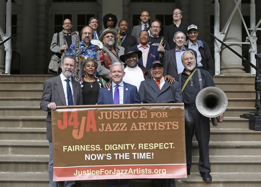 Jazz musicians and union staff were in high spirits after City Council voted to support Justice for Jazz Artists in October 2014.