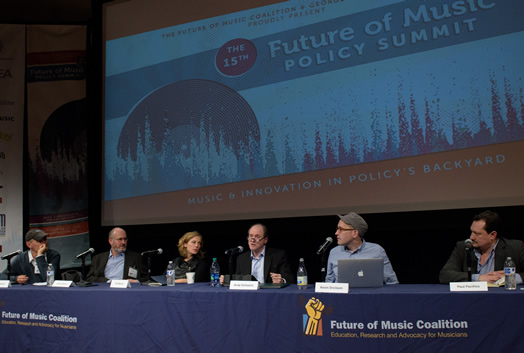 """Andy Schwartz spoke at this year's Future of Music Policy Summit on a panel entitled """"Herding Cats in Theory and Practice: Musicians Making Impact."""" Left to right: Bertis Downs, Jeffrey Boxer, Tift Merritt, Andy Schwartz, Kevin Erickson, Paul Pacifico."""
