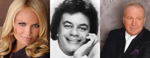 Musicians who backed up Kristin Chenowith (left), Johnny Mathis (middle) and Frank Sinatra Jr. (right) at the Tilles Center played under Local 802 union agreements.