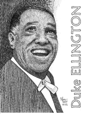 Duke Ellington (1899-1974) as drawn by Mort Kuff.