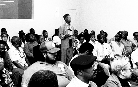 MORE HISTORY FROM OUR ARCHIVES: The trombonist Benny Powell addressing a meeting of musicians in New York City sometime in the late 1980's. Powell was active in the union's jazz campaign until his death in 2010 at the age of 80.