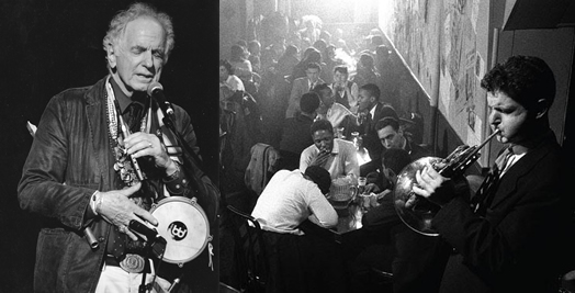 THE RENAISSANCE MAN: David Amram today (left) and back in 1957, jamming on French horn at the Five Spot in New York City.